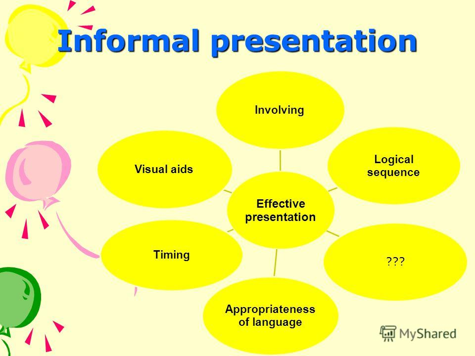 Informal presentation Effective presentation Involving Logical sequence ??? Appropriateness of language Timing Visual aids