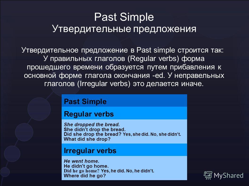 Past Simple Утвердительные предложения Утвердительное предложение в Past simple строится так: У правильных глаголов (Regular verbs) форма прошедшего времени образуется путем прибавления к основной форме глагола окончания -ed. У неправельных глаголов