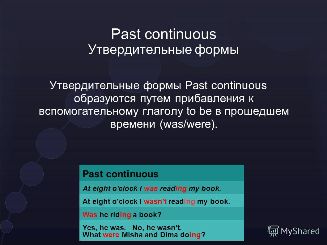 Past continuous Утвердительные формы Past continuous At eight o'clock I was reading my book. At eight o'clock I wasn't reading my book. Was he riding a book? Yes, he was. No, he wasn't. What were Misha and Dima doing? Утвердительные формы Past contin