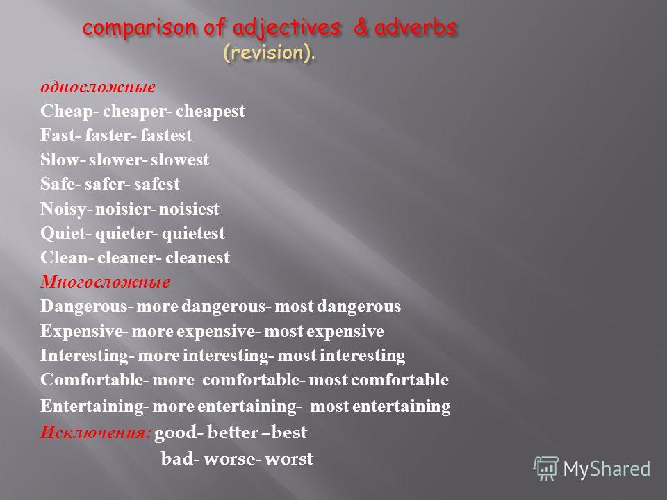 comparison of adjectives & adverbs (revision). односложные Cheap- cheaper- cheapest Fast- faster- fastest Slow- slower- slowest Safe- safer- safest Noisy- noisier- noisiest Quiet- quieter- quietest Clean- cleaner- cleanest Многосложные Dangerous- mor