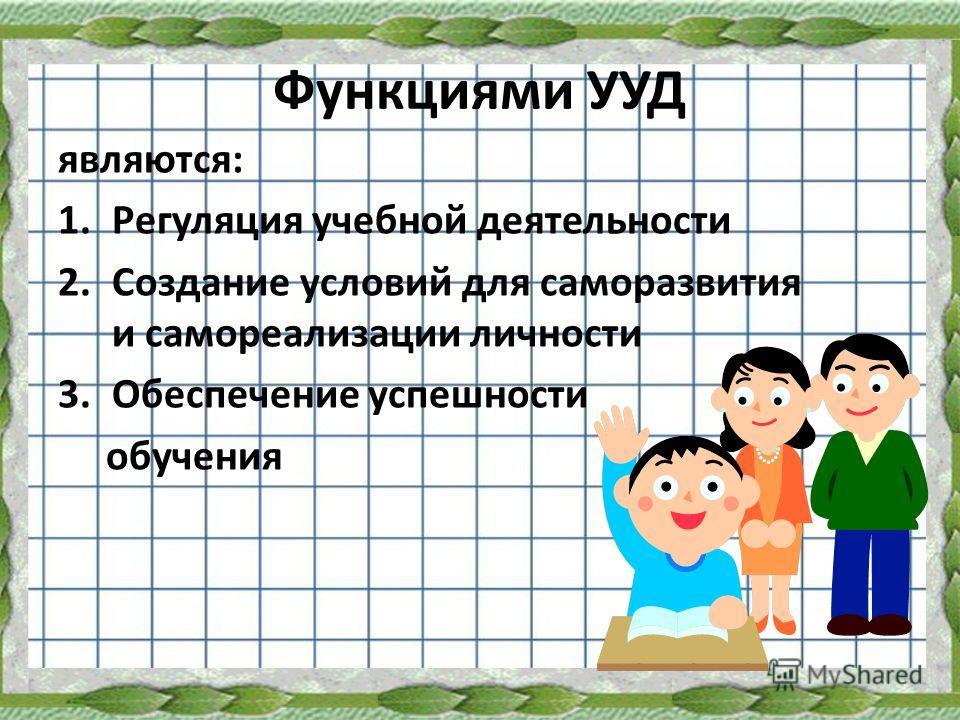 Функциями УУД являются: 1.Регуляция учебной деятельности 2.Создание условий для саморазвития и самореализации личности 3.Обеспечение успешности обучения