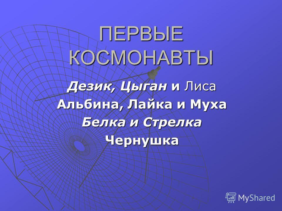 ПЕРВЫЕ КОСМОНАВТЫ Дезик, Цыган и Лиса Альбина, Лайка и Муха Белка и Стрелка Чернушка