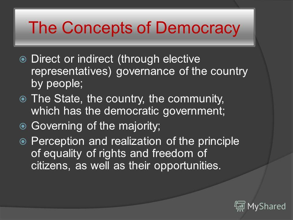 The Study of the American Democracy in Today's World To elicit the contradictions between the main principles of a democratic system and their modern realization in the USA. With this goal in mind we identified the main tasks: 1. To study the concept