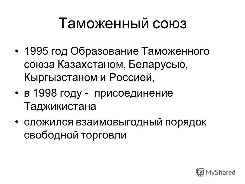Таможенный союз 1995 год Образование Таможенного союза Казахстаном, Беларусью, Кыргызстаном и Россией, в 1998 году - присоединение Таджикистана сложился взаимовыгодный порядок свободной торговли