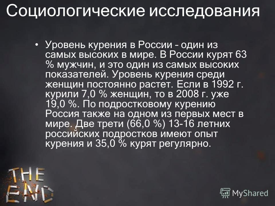 Социологические исследования Уровень курения в России – один из самых высоких в мире. В России курят 63 % мужчин, и это один из самых высоких показателей. Уровень курения среди женщин постоянно растет. Если в 1992 г. курили 7,0 % женщин, то в 2008 г.
