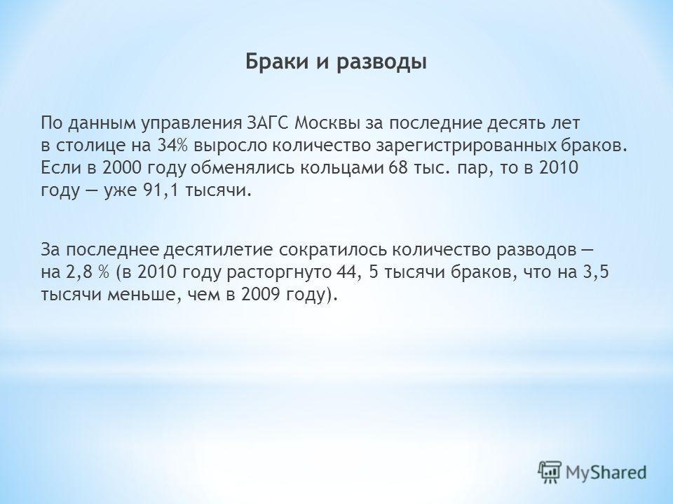 Браки и разводы По данным управления ЗАГС Москвы за последние десять лет в столице на 34% выросло количество зарегистрированных браков. Если в 2000 году обменялись кольцами 68 тыс. пар, то в 2010 году уже 91,1 тысячи. За последнее десятилетие сократи