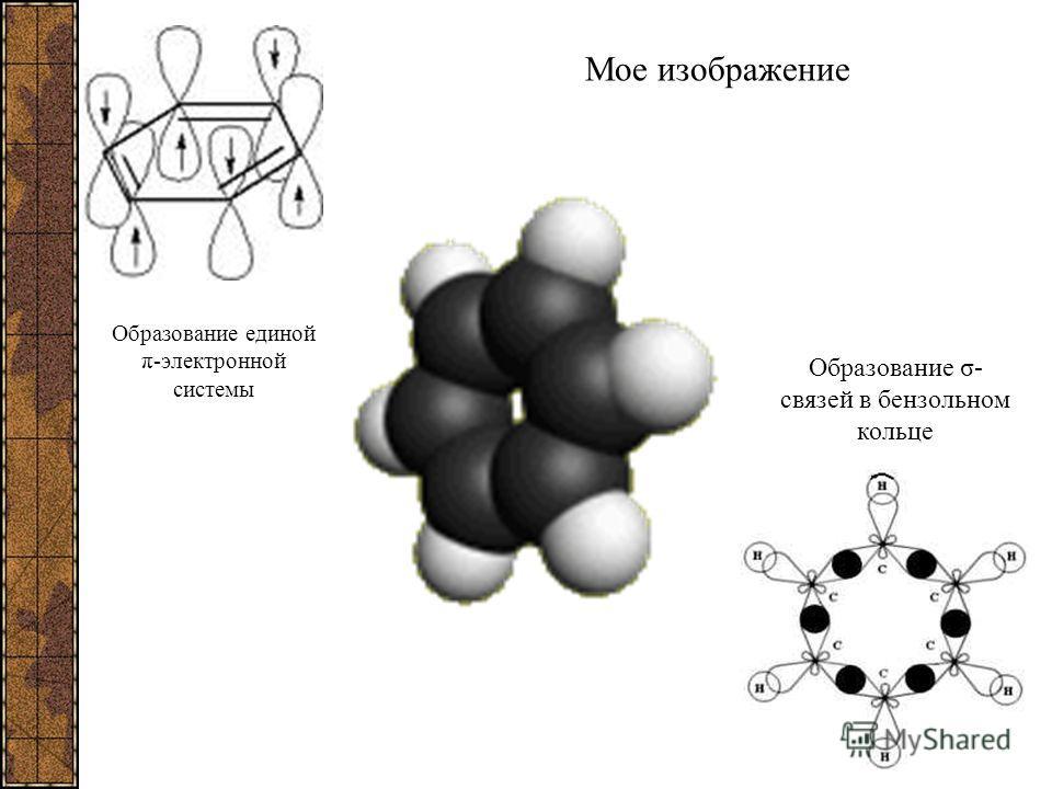Образование единой π-электронной системы Образование σ- связей в бензольном кольце Мое изображение