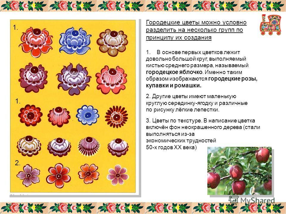 Городецкие цветы можно условно разделить на несколько групп по принципу их создания 1.В основе первых цветков лежит довольно большой круг, выполняемый кистью среднего размера, называемый городецкое яблочко. Именно таким образом изображаются городецки