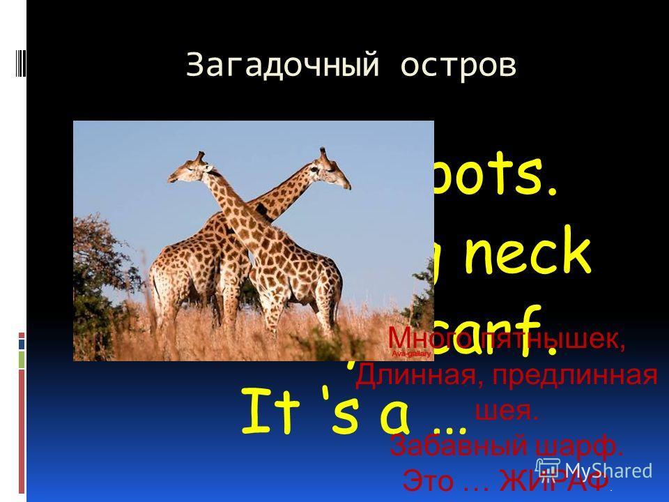 Загадочный остров A lot of spots. A long, long neck A funny scarf. It s a … Много пятнышек, Длинная, предлинная шея. Забавный шарф. Это … ЖИРАФ.
