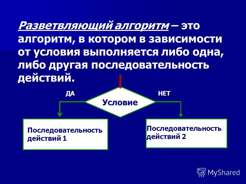 Разветвляющий алгоритм – это алгоритм, в котором в зависимости от условия выполняется либо одна, либо другая последовательность действий. Условие Последовательность действий 1 Последовательность действий 2 НЕТДА