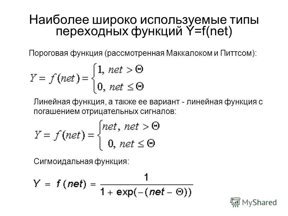 Наиболее широко используемые типы переходных функций Y=f(net) Пороговая функция (рассмотренная Маккалоком и Питтсом): Линейная функция, а также ее вариант - линейная функция с погашением отрицательных сигналов: Сигмоидальная функция: