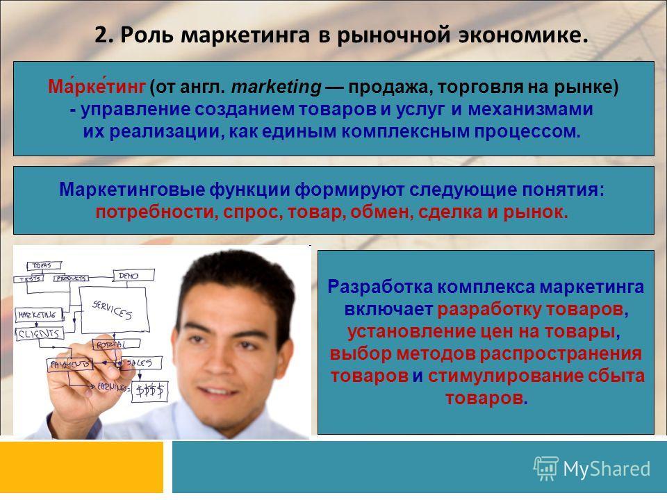 2. Роль маркетинга в рыночной экономике. Ма́рке́тинг (от англ. marketing продажа, торговля на рынке) - управление созданием товаров и услуг и механизмами их реализации, как единым комплексным процессом. Маркетинговые функции формируют следующие понят
