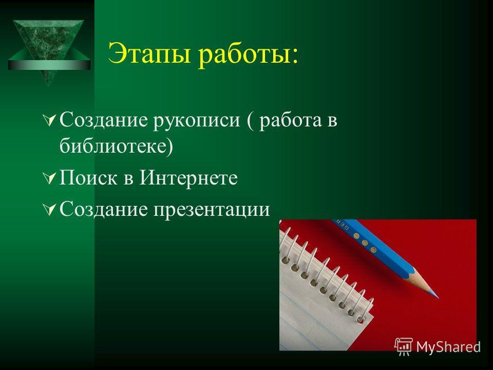 Этапы работы: Создание рукописи ( работа в библиотеке) Поиск в Интернете Создание презентации
