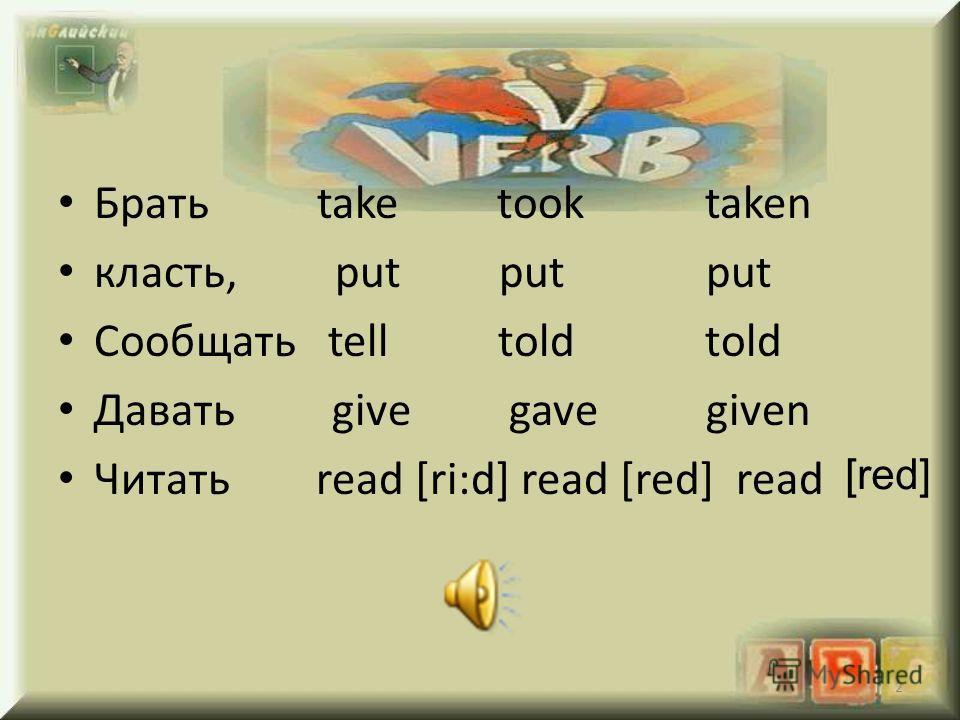 Брать take took taken класть, put put put Сообщать tell told told Давать give gave given Читать read [ri:d] read [red] read 2 [red]