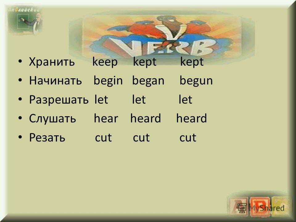 Хранить keep kept kept Начинать begin began begun Разрешать let let let Слушать hear heard heard Резать cut cut cut