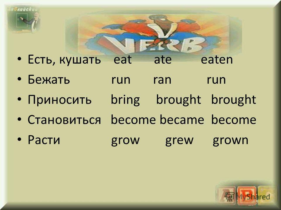 Eсть, кушать eat ate eaten Бежать run ran run Приносить bring brought brought Становиться become became become Расти grow grew grown