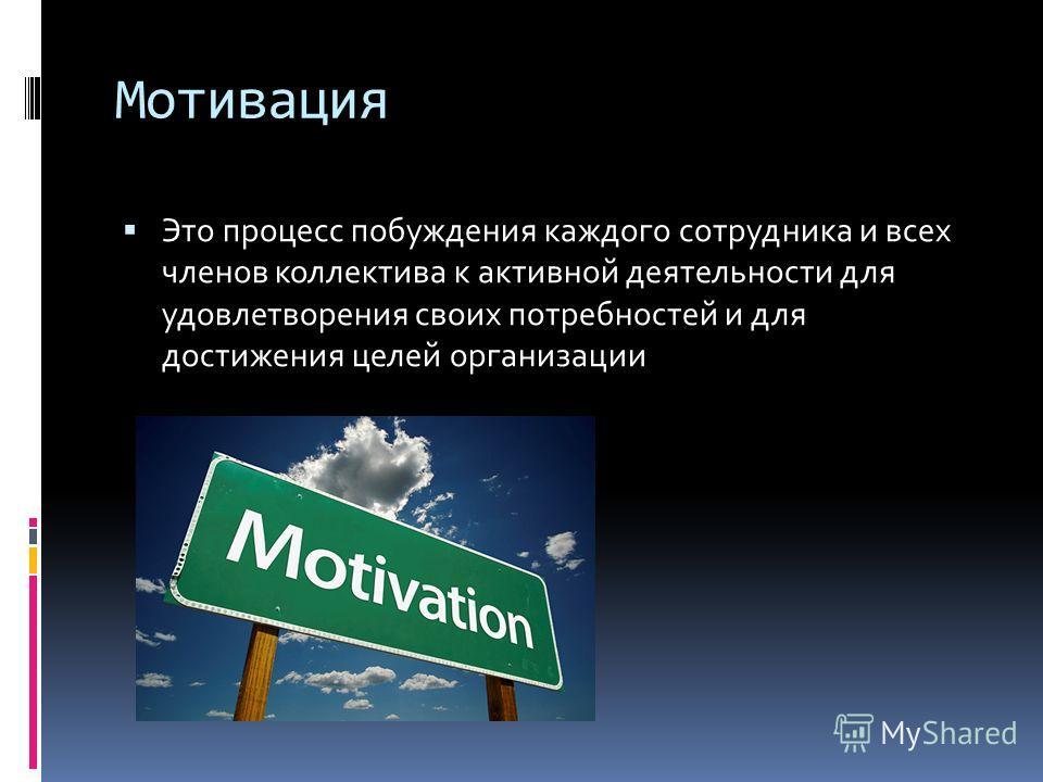 Мотивация Это процесс побуждения каждого сотрудника и всех членов коллектива к активной деятельности для удовлетворения своих потребностей и для достижения целей организации