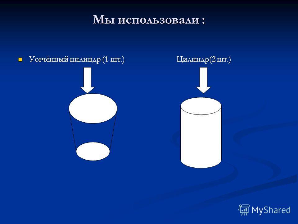 Мы использовали : Усечённый цилиндр (1 шт.) Цилиндр(2 шт.) Усечённый цилиндр (1 шт.) Цилиндр(2 шт.)