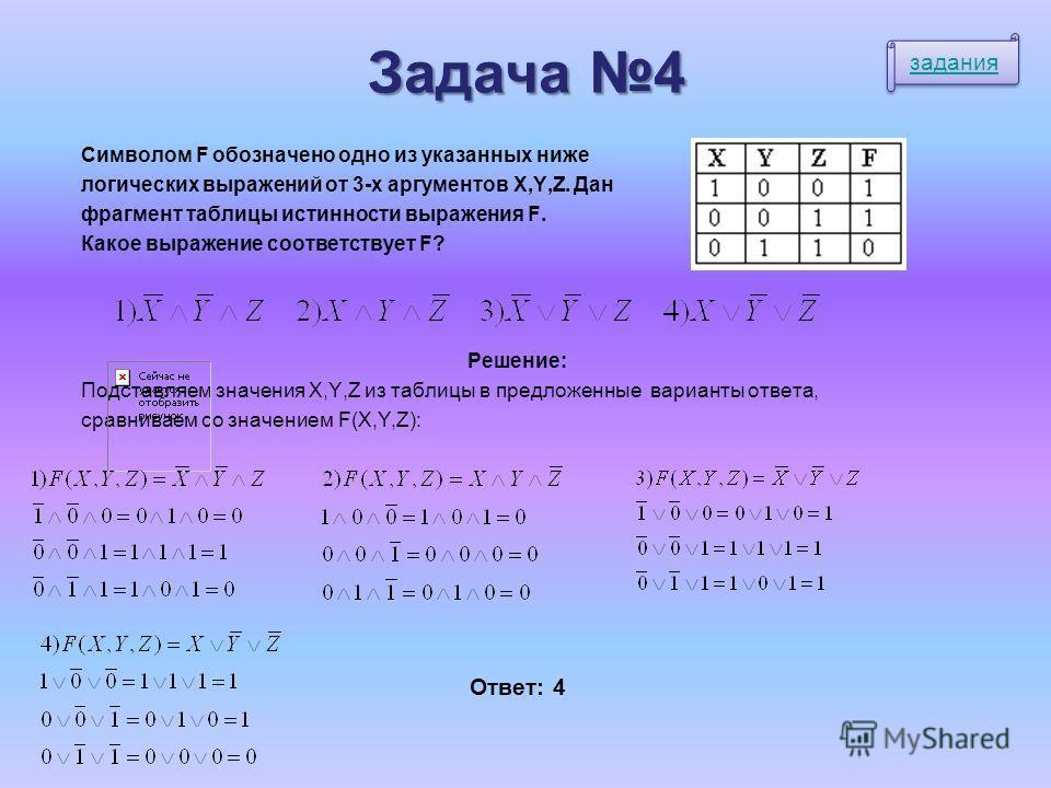 Задача 4 Символом F обозначено одно из указанных ниже логических выражений от 3-х аргументов X,Y,Z. Дан фрагмент таблицы истинности выражения F. Какое выражение соответствует F? Решение: Подставляем значения X,Y,Z из таблицы в предложенные варианты о