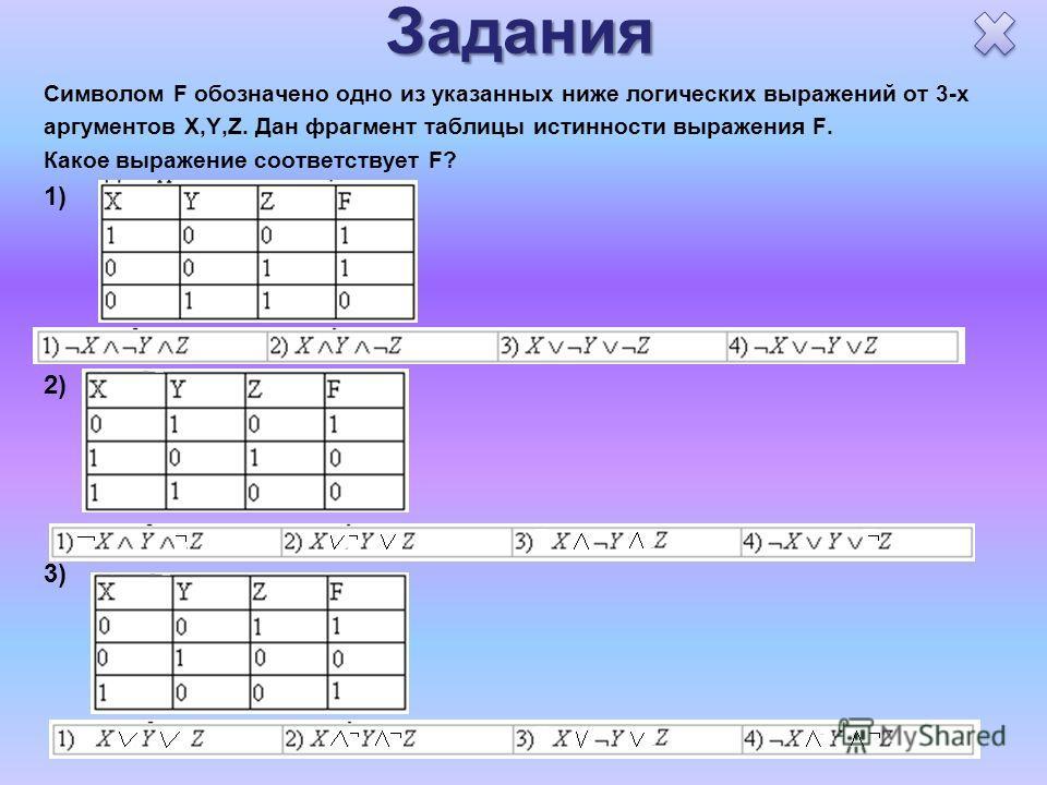 Задания Символом F обозначено одно из указанных ниже логических выражений от 3-х аргументов X,Y,Z. Дан фрагмент таблицы истинности выражения F. Какое выражение соответствует F? 1) 2) 3)