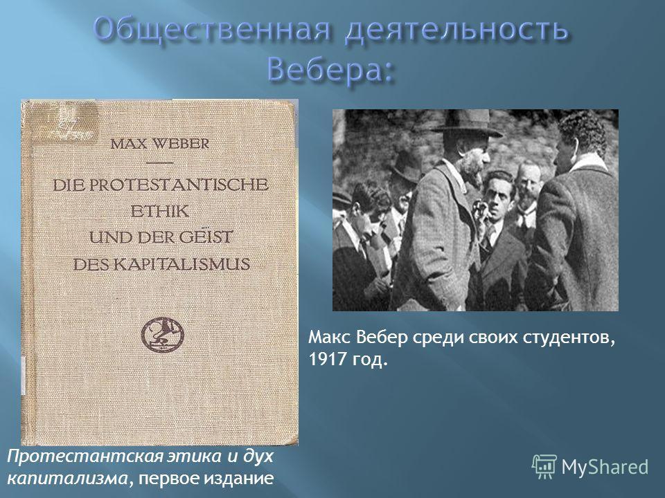 Протестантская этика и дух капитализма, первое издание Макс Вебер среди своих студентов, 1917 год.