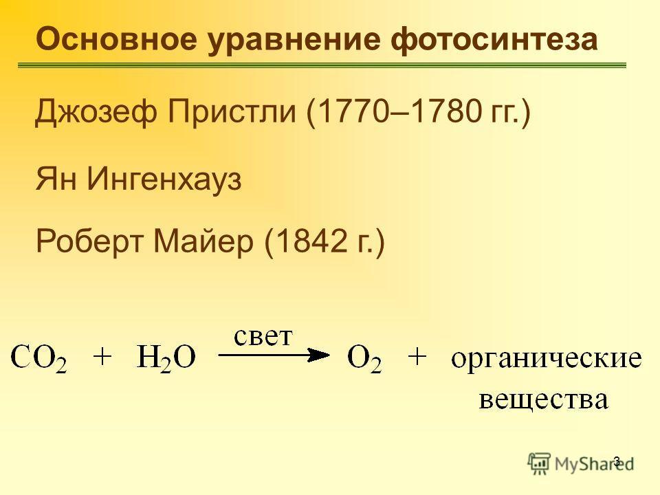 3 Основное уравнение фотосинтеза Джозеф Пристли (1770–1780 гг.) Ян Ингенхауз Роберт Майер (1842 г.)