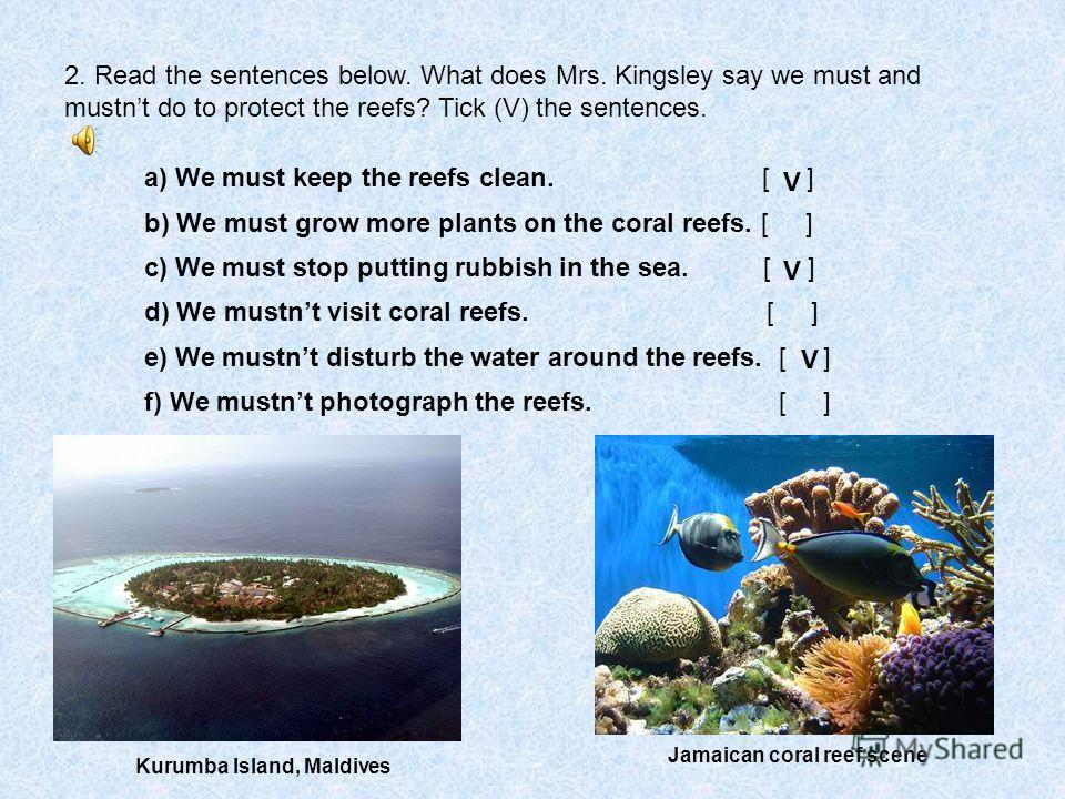 2. Read the sentences below. What does Mrs. Kingsley say we must and mustnt do to protect the reefs? Tick (V) the sentences. a) We must keep the reefs clean. [ ] b) We must grow more plants on the coral reefs. [ ] c) We must stop putting rubbish in t