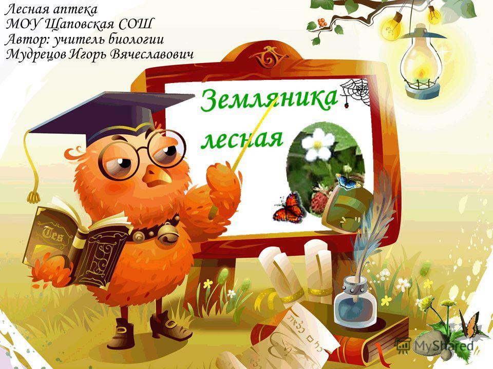 Лесная аптека МОУ Щаповская СОШ Автор: учитель биологии Мудрецов Игорь Вячеславович