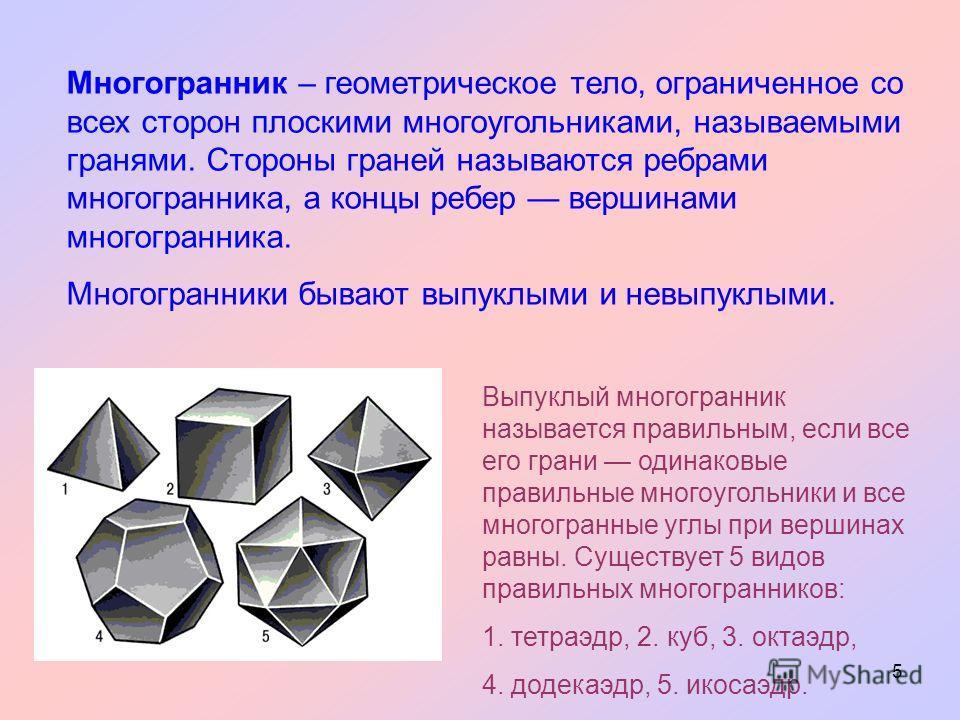 5 Многогранник – геометрическое тело, ограниченное со всех сторон плоскими многоугольниками, называемыми гранями. Стороны граней называются ребрами многогранника, а концы ребер вершинами многогранника. Многогранники бывают выпуклыми и невыпуклыми. Вы