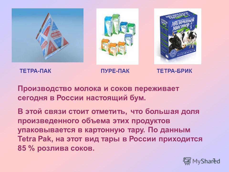 7 ТЕТРА-ПАКПУРЕ-ПАКТЕТРА-БРИК Производство молока и соков переживает сегодня в России настоящий бум. В этой связи стоит отметить, что большая доля произведенного объема этих продуктов упаковывается в картонную тару. По данным Tetra Pak, на этот вид т