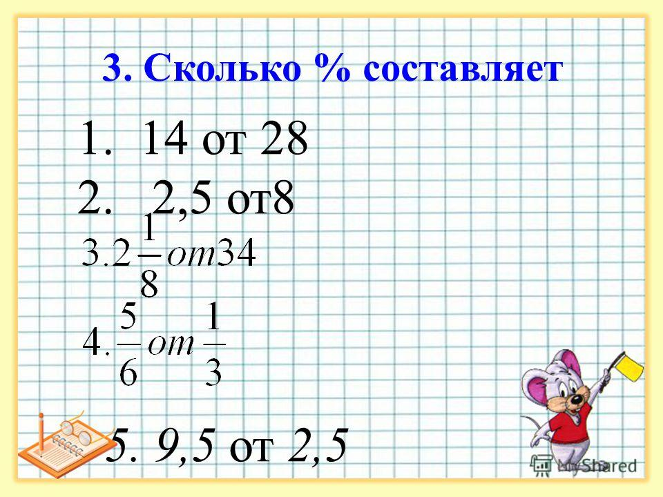 3. Сколько % составляет 1. 14 от 28 2. 2,5 от8 5. 9,5 от 2,5