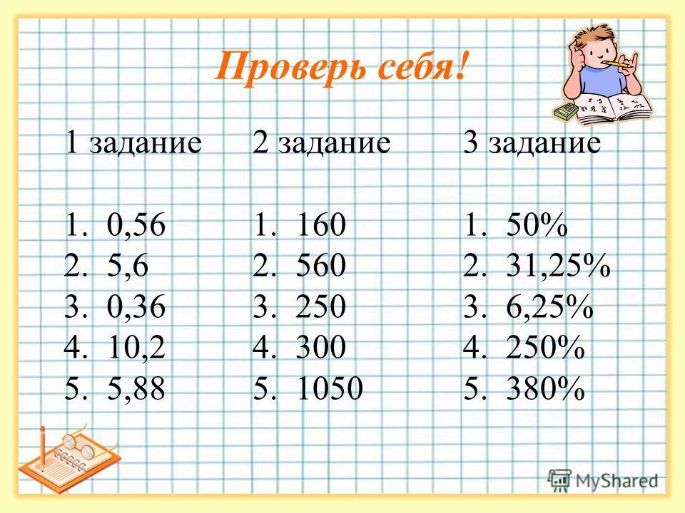Проверь себя! 3 задание 1. 50% 2. 31,25% 3. 6,25% 4. 250% 5. 380% 2 задание 1. 160 2. 560 3. 250 4. 300 5. 1050 1 задание 1. 0,56 2. 5,6 3. 0,36 4. 10,2 5. 5,88