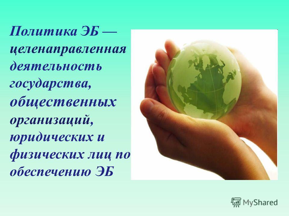 Политика ЭБ целенаправленная деятельность государства, общественных организаций, юридических и физических лиц по обеспечению ЭБ