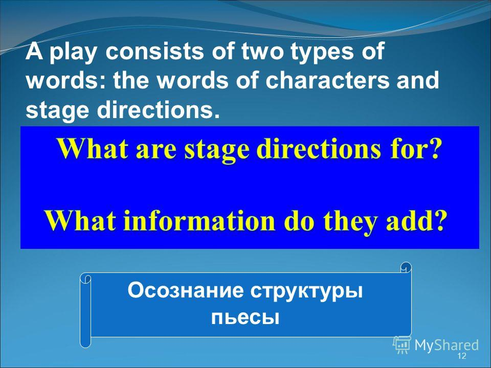 12 A play consists of two types of words: the words of characters and stage directions. Осознание структуры пьесы