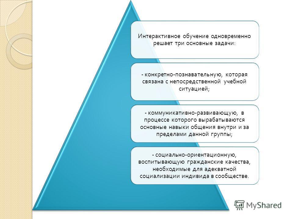 Интерактивное обучение одновременно решает три основные задачи : - конкретно - познавательную, которая связана с непосредственной учебной ситуацией ; - коммуникативно - развивающую, в процессе которого вырабатываются основные навыки общения внутри и