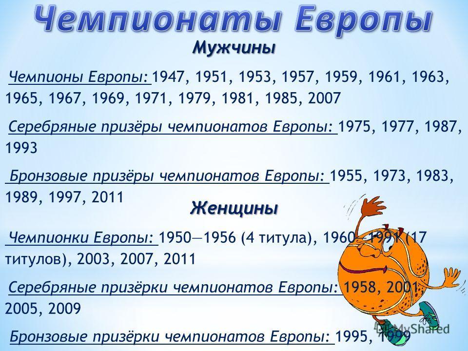 Женщины Чемпионки Европы: 19501956 (4 титула), 19601991 (17 титулов), 2003, 2007, 2011 Серебряные призёрки чемпионатов Европы: 1958, 2001, 2005, 2009 Бронзовые призёрки чемпионатов Европы: 1995, 1999 Мужчины Чемпионы Европы: 1947, 1951, 1953, 1957, 1