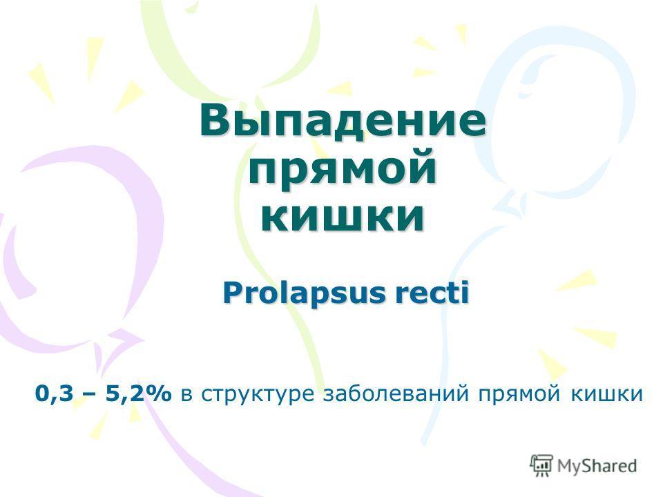 Выпадение прямой кишки Prolapsus recti 0,3 – 5,2% в структуре заболеваний прямой кишки