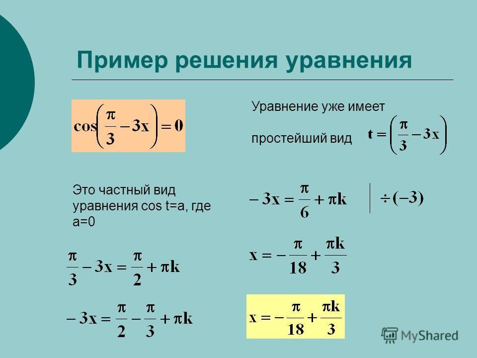 Пример решения уравнения Уравнение уже имеет простейший вид Это частный вид уравнения cos t=a, где a=0