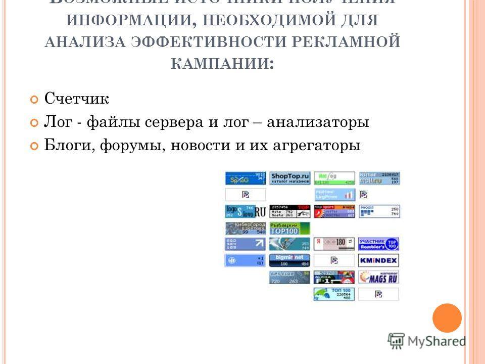 В ОЗМОЖНЫЕ ИСТОЧНИКИ ПОЛУЧЕНИЯ ИНФОРМАЦИИ, НЕОБХОДИМОЙ ДЛЯ АНАЛИЗА ЭФФЕКТИВНОСТИ РЕКЛАМНОЙ КАМПАНИИ : Счетчик Лог - файлы сервера и лог – анализаторы Блоги, форумы, новости и их агрегаторы
