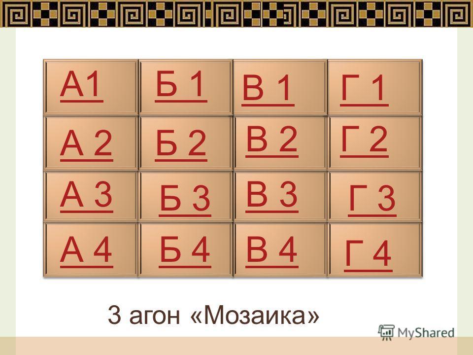 А1 А 2 А 3 А 4 Б 2 Б 3 Б 4 Б 1 Г 1В 1 В 2Г 2 В 3 Г 3 Г 4 В 4 3 агон «Мозаика»