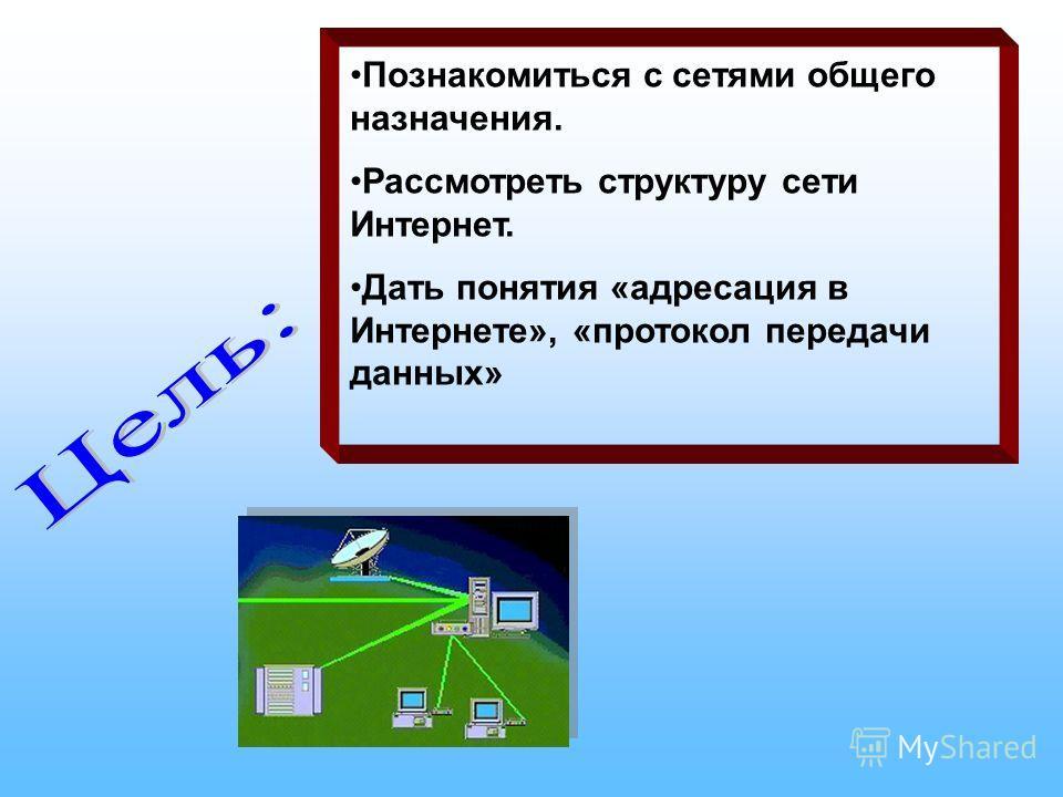 Познакомиться с сетями общего назначения. Рассмотреть структуру сети Интернет. Дать понятия «адресация в Интернете», «протокол передачи данных»