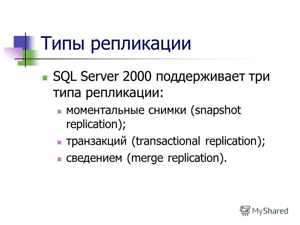 Типы репликации SQL Server 2000 поддерживает три типа репликации: моментальные снимки (snapshot replication); транзакций (transactional replication); сведением (merge replication).