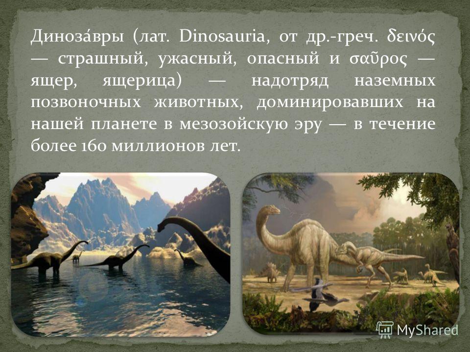 Диноза́вры (лат. Dinosauria, от др.-греч. δεινός страшный, ужасный, опасный и σα ρος ящер, ящерица) надотряд наземных позвоночных животных, доминировавших на нашей планете в мезозойскую эру в течение более 160 миллионов лет.
