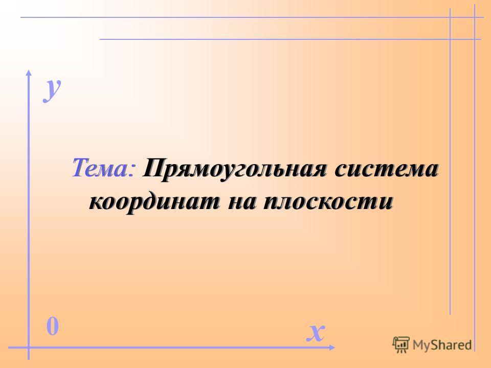 Тема: Прямоугольная система координат на плоскости x 0 y