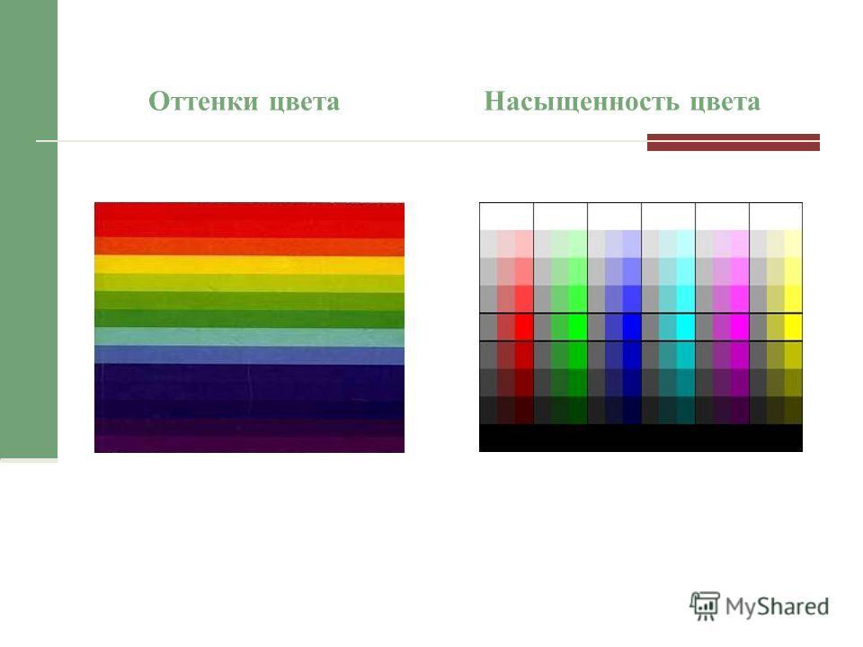 Оттенки цветаНасыщенность цвета