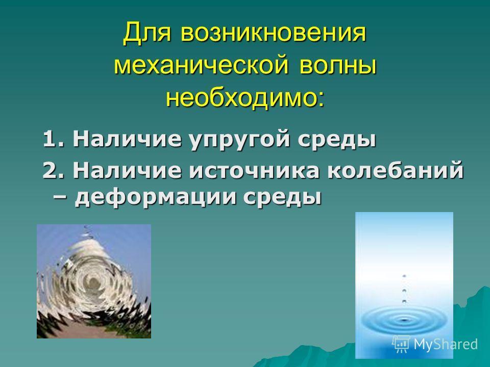 Для возникновения механической волны необходимо: 1. Наличие упругой среды 1. Наличие упругой среды 2. Наличие источника колебаний – деформации среды 2. Наличие источника колебаний – деформации среды