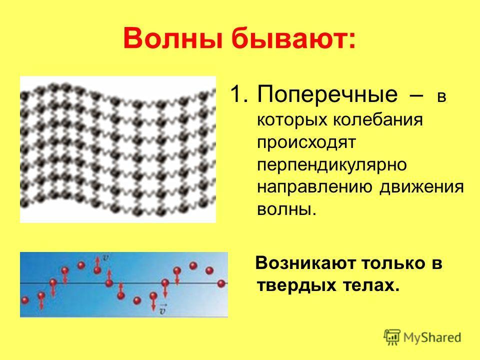 Волны бывают: 1.Поперечные – в которых колебания происходят перпендикулярно направлению движения волны. Возникают только в твердых телах.
