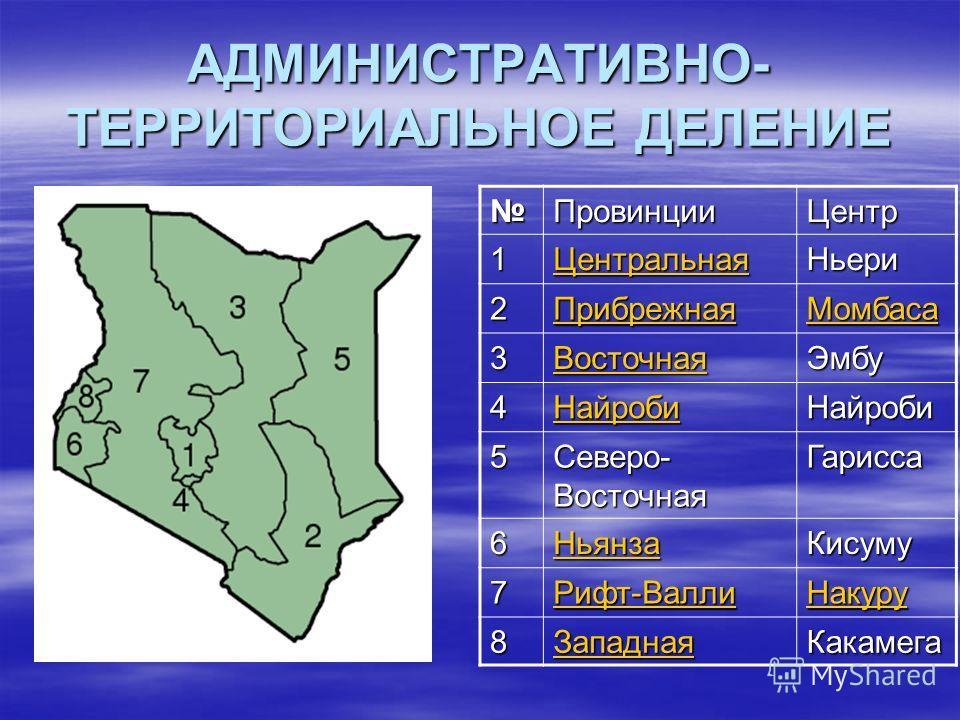 АДМИНИСТРАТИВНО- ТЕРРИТОРИАЛЬНОЕ ДЕЛЕНИЕ ПровинцииЦентр 1 Центральная Ньери 2 Прибрежная Момбаса 3 Восточная Эмбу 4 Найроби Найроби 5 Северо- Восточная Гарисса 6 Ньянза Кисуму 7 Рифт-Валли Накуру 8 Западная Какамега