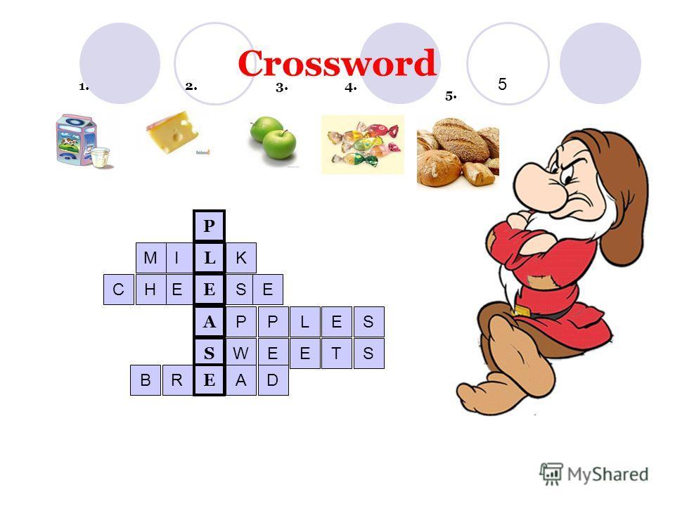 Crossword 1. 2. 3. 4. 5 5. A S E L E P IMK EHCSE PPLES WEETS RBAD