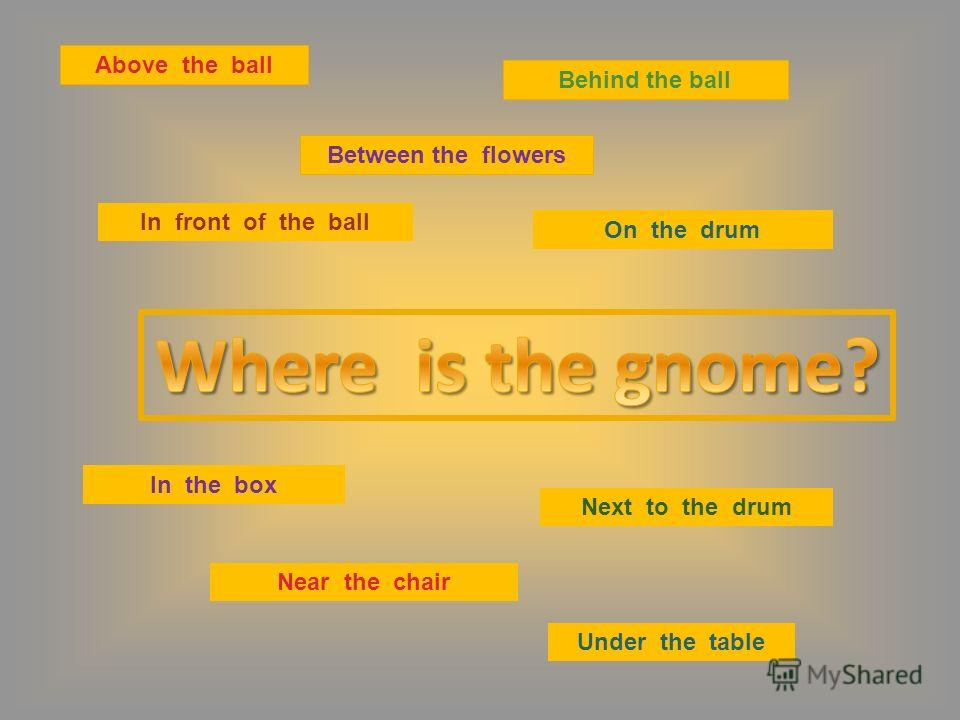 Above the ball Between the flowers Behind the ball On the drum In front of the ball In the box Near the chair Next to the drum Under the table